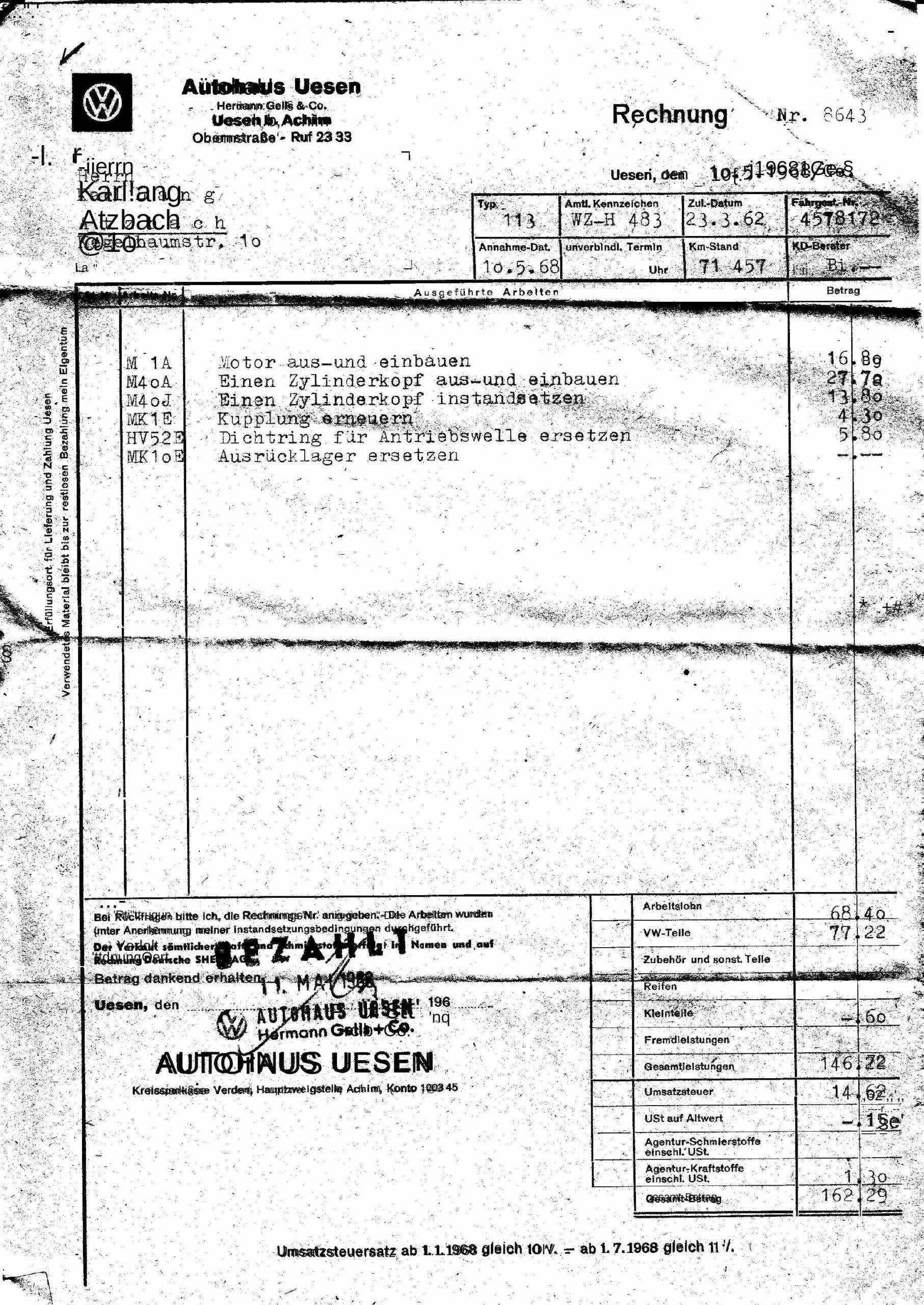 Autoreparatur 1968