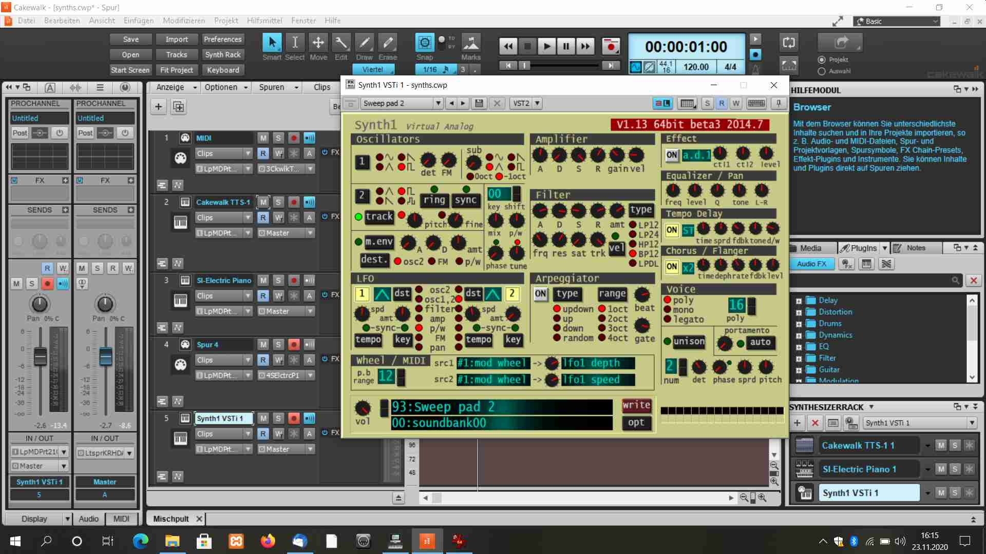 Read more about the article SW-Synth Synth1 unter Cakewalk