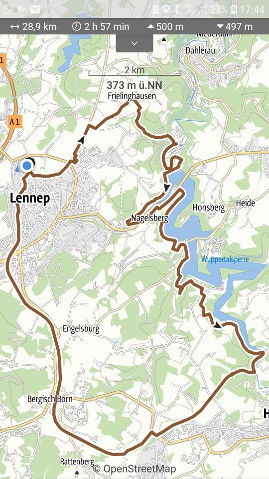 Radtour Lennep, Wuppersperre und Trasse
